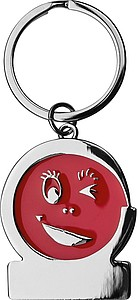 Kovový přívěsek na klíče s mrkacím obličejem, červený