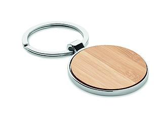 Kulatý přívěšek na klíče, kombinace kovu a bambusu