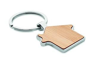 Přívěšek na klíče ve tvaru domu, kombinace kovu a bambusu
