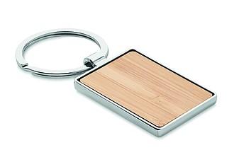 Obdélníkový přívěšek na klíče, kombinace kovu a bambusu