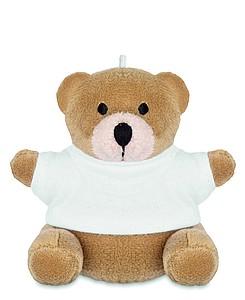 Přívěšek na klíče, medvídek v bílém tričku