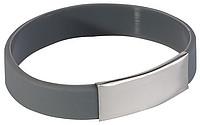 BELATRIX Silikonový náramek s plátkem pro logo, šedý