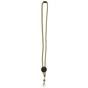 DEVERIL Nylonová šňůrka na krk s karabinkou, černo žlutá