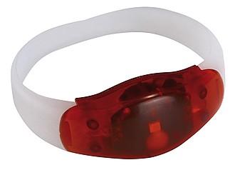 BAND Bílý silikonový náramek s červeným světlem