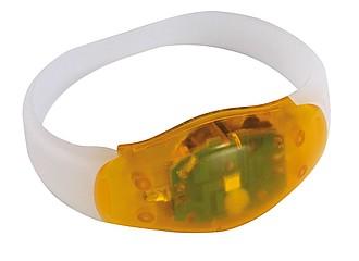 BAND Bílý silikonový náramek s oranžovým světlem