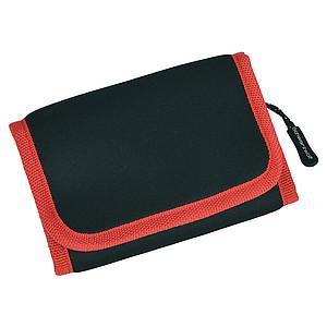 SCHWARZWOLF COIN neoprénová peněženka s červeným lemováním - reklamní trička