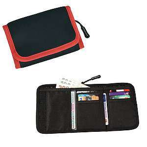 SCHWARZWOLF COIN neoprénová peněženka s červeným lemováním – reklamní peněženka s potiskem