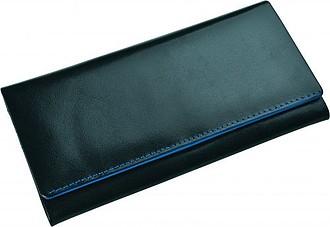 SENATA Dámská kožená velká peněženka, modré lemování – reklamní peněženka s potiskem
