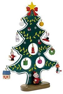 KARABA Dřevěný vánoční stromeček s 12-ti ozdobam