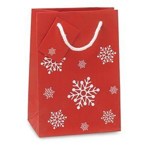Dárková papírová taška se vzorem sněhových vloček malá