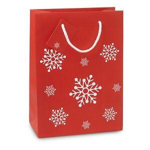Dárková papírová taška se vzorem sněhových vloček střední