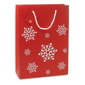 Dárková papírová taška se vzorem sněhových vloček velká