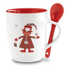 KLUDY Keramický šálek se lžičkou a vánočním dekorem