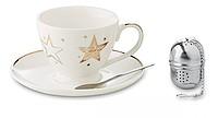Vánoční šálek s podšálkem a sítkem na čaj