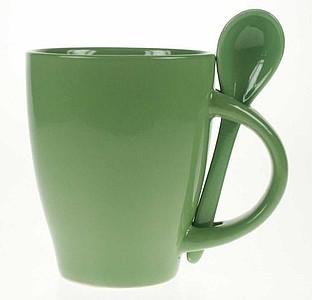 TONGA zelená , hrnek se lžičkou v oušku, keramika