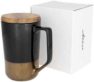 Tahoe keramický hrnek na čaj a kávu s dřevěným víčkem, černá