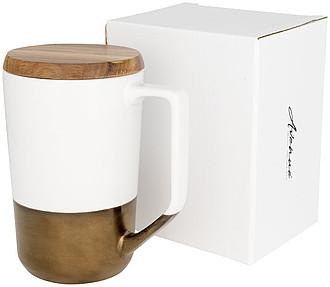 Tahoe keramický hrnek na čaj a kávu s dřevěným víčkem, bílá