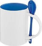 Keramický hrnek se lžičkou, vně bílý, uvnitř modrý