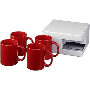 Sada čtyř keramických hrnků Ceramic, červená
