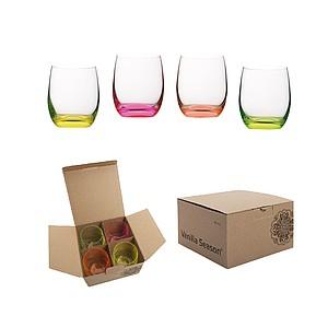 VS HATTA sada 4 neonových sklenic - mix barev - reklamní hrnky