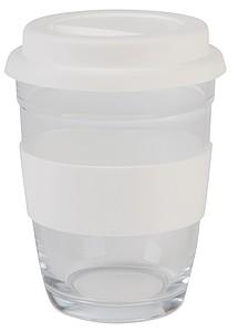 BONKE Skleněný hrnek, 350ml s bílým silikonovým rukávem a víčkem s pítkem, bílá
