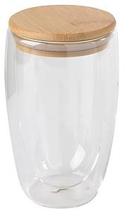 VARIETA Dvoustěnná sklenice s bambusovým víčkem, 450ml