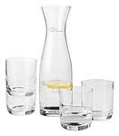 Skleněná karafa na vodu se čtyřmi skleničkami