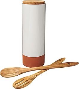 Mísa na těstoviny s dřevěnými lžícemi, hnědá