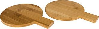 Dva kulaté bambusové tácky na pochutiny, středně hnědá