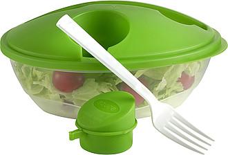 SALINKA Plastová miska na salát s vidličkou a zeleným víčkem