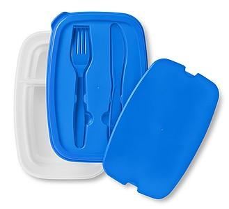 Obědový box s příbory ve víku, modrá
