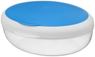 Lunchbox se skládací vidličkou ve víčku, bílá, modrá