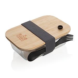 Skleněná krabička na jídlo s bambusovým víkem, transparentní