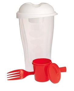 Plastový box na salát, s vidličkou a zásobníkem na dresing, červená