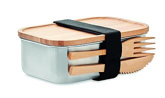 Nerezový lunchbox s bambusovým víkem a příborem, 600ml