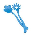 TULIPANEK Salátové náčiní ve tvaru květin, modré