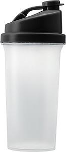 GYMMY Plastový proteinový šejkr, láhev na pití, s černým víčkem