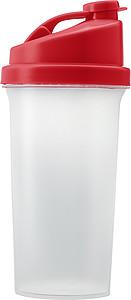 GYMMY Plastový proteinový šejkr, láhev na pití, s červeným víčkem s potiskem