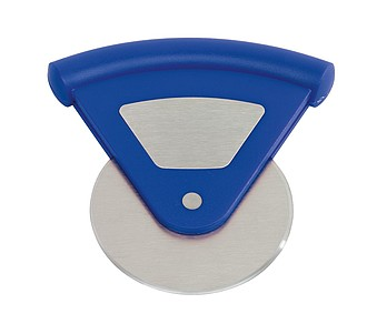 Kráječ na pizzu, kolečko s trojúhelníkovou rukojetí, modrý