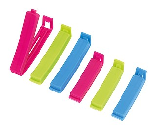 PENIM Sada šesti barevných plastových klipů na sáčky