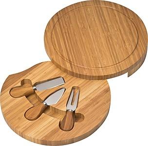 Sada tří nožů na sýr ukrytá v kulatém dřevěném prkénku