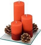 DAFNÉ Sada tří svíček s dekorací, červená
