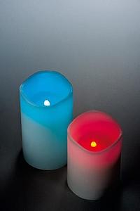 NAMATRI Set dvou LED svíček s voskovým povrchem, s ovladačem barev