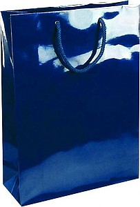 NATALY 24 Papírová taška s lesklou povrchovou úpravou,24x9x35cm,modrá papírová taška s potiskem