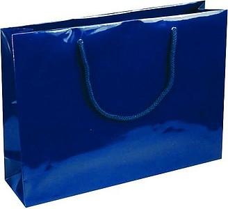 NATALY 35 Papírová taška s lesklou povrchovou úpravou,35x9x24cm,modrá