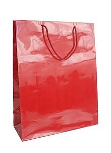 HANKA Papírová taška s lesklou povrchovou úpravou,32x13x42cm, červená 185 C