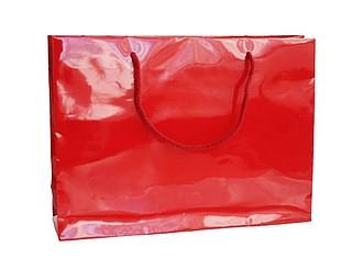 HANKA Papírová taška s lesklou povrchovou úpravou,35x9x24cm, červená 185 C