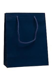 PRIMATA Papírová taška,rozměr 22x10x27,5cm, tmavě modrá, lamino lesk - reklamní kancelářské potřeby