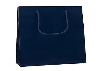 PRIMATA Papírová taška, rozměr 32x10x27,5cm, tmavě modrá,lamino lesk