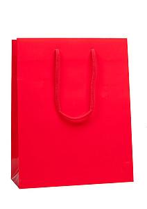 ADAVERA Papírová taška, rozměr 25X11X31cm, červená, lamino lesk